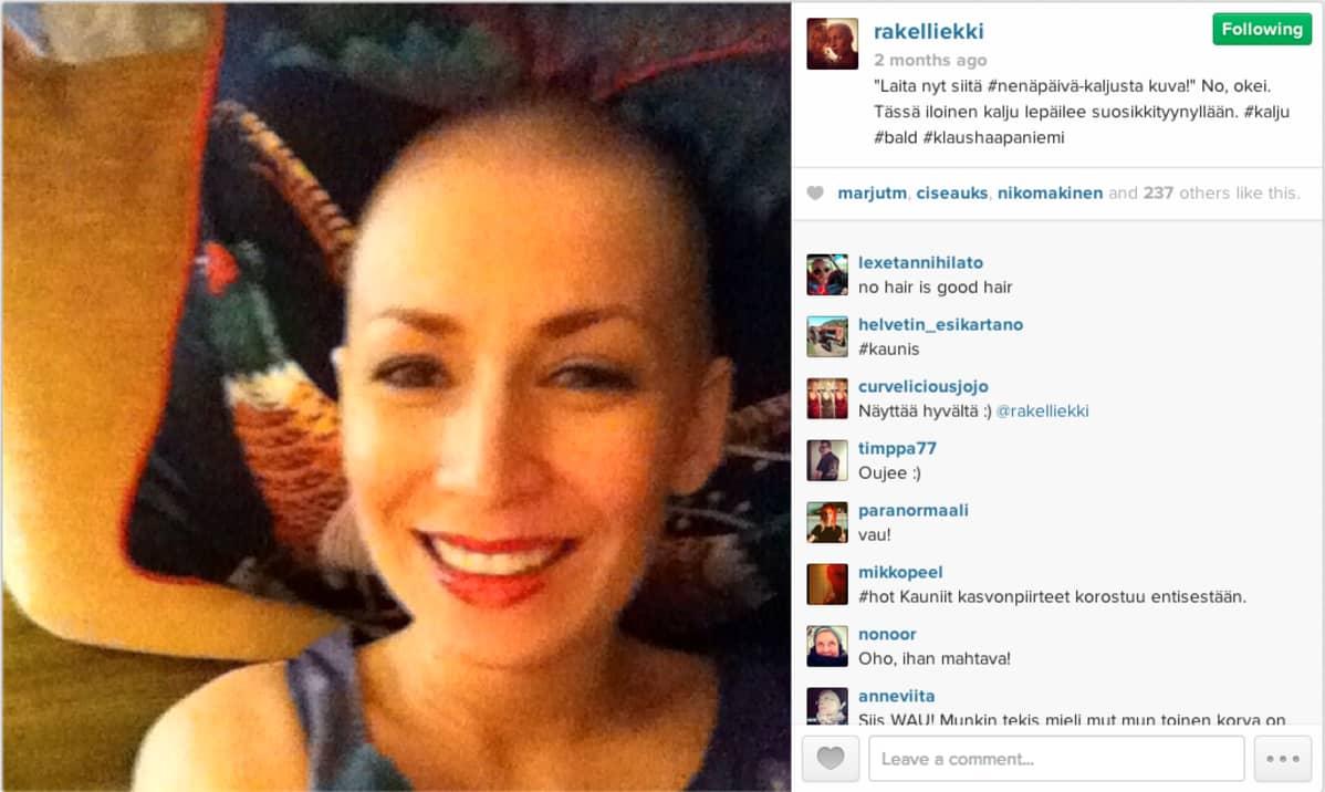 Rakel Liekki selfie Instagramista