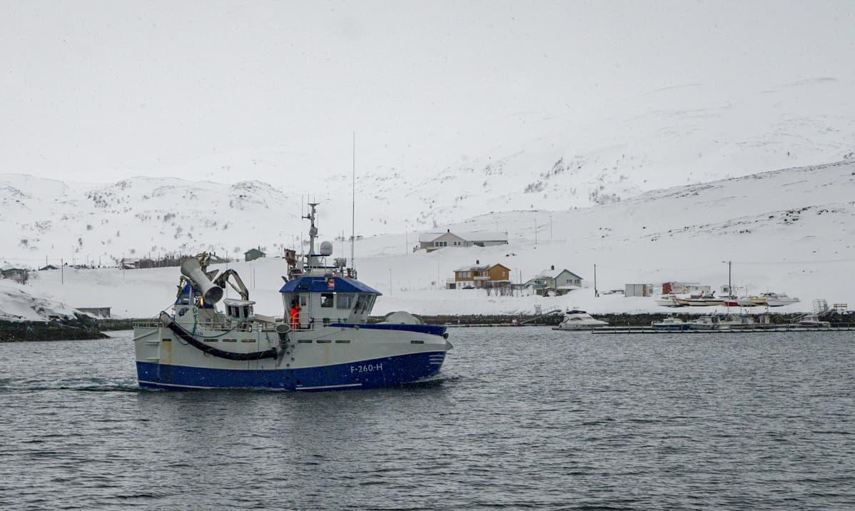 Polarsterna saapuu satamaan myrskyisen yön jälkeen.
