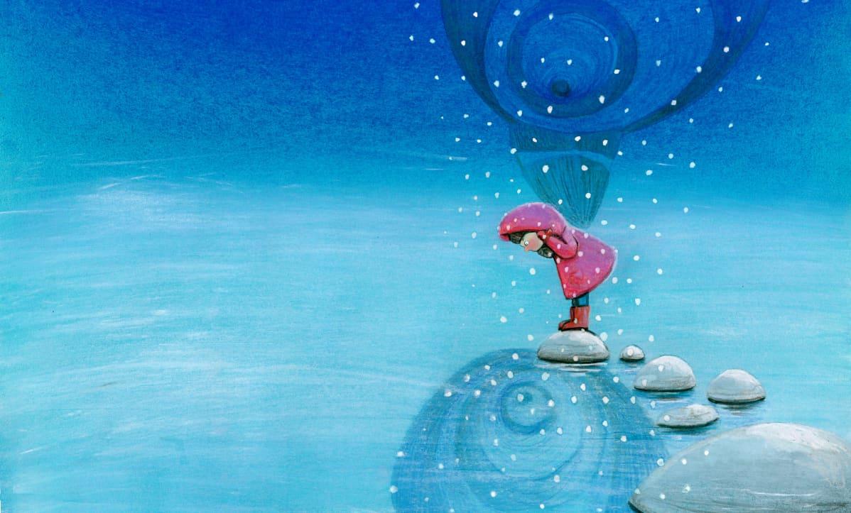 kuva lastenkirjasta Lumi ja Lunni, ikävä heijastuu jäästä