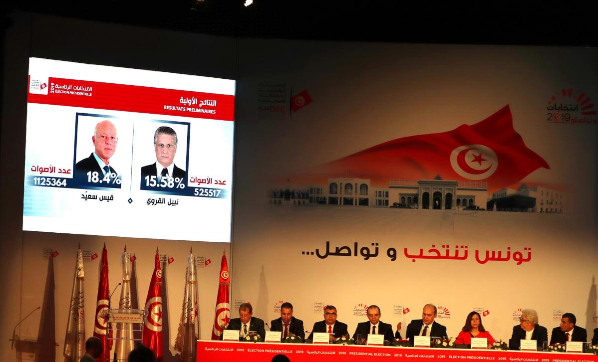 Presidenttiehdokkaiden kuvat heijastettuna näytölle.