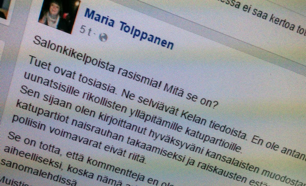Kuva kansanedustaja Maria Tolppasen facebook-sivulta.