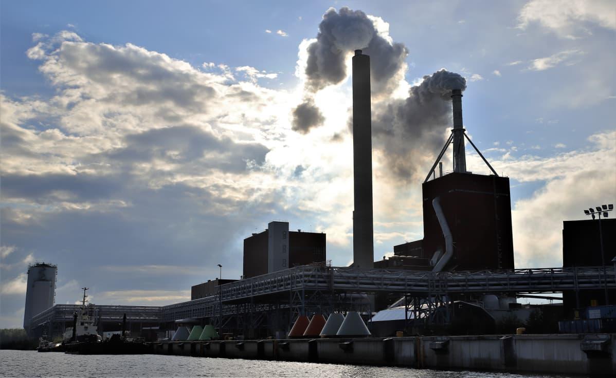 Stora Enson Oulun tehdas Nuottasaaressa mereltä.