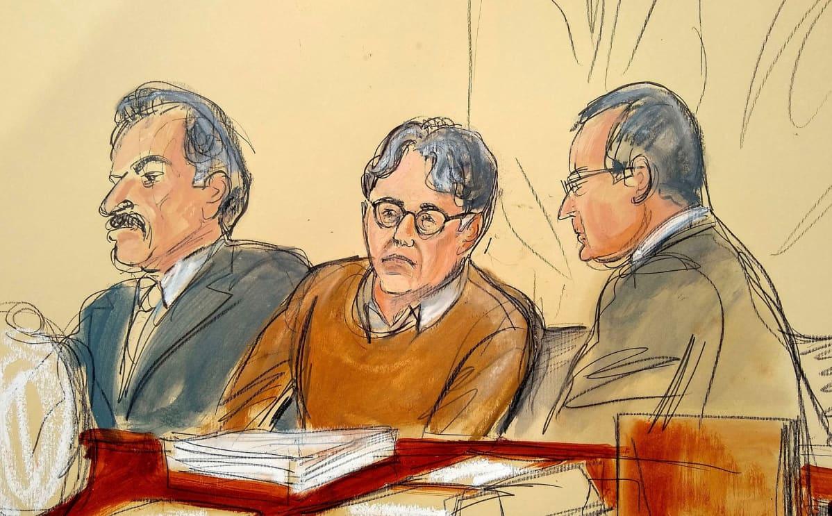 Oikeuspiirtäjän kuva Keith Ranieresta istumassa asianajajiensa kanssa oikeusalissa.