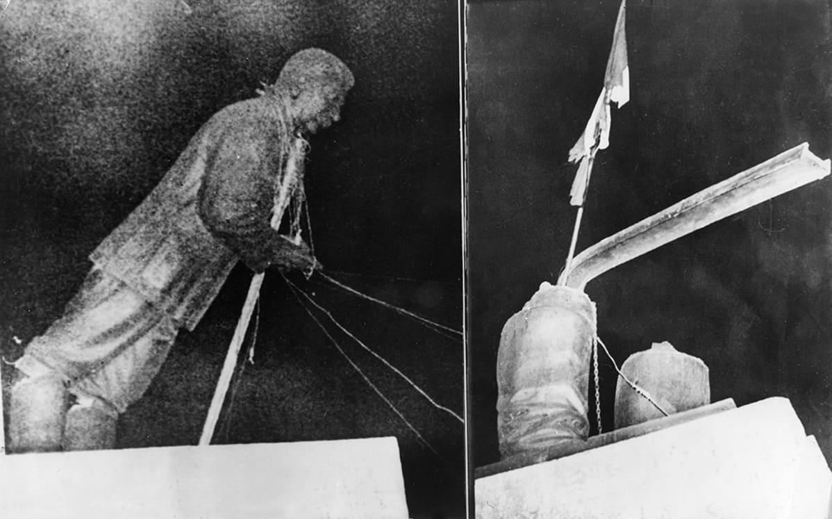 Stalininpatsas revittiin jalustalta alas (vasen kuva), jonka paikalle pystytettiin Unkarin kansallinen lippu (oikea kuva). Kuva 23.-24. lokakuuta 1956.