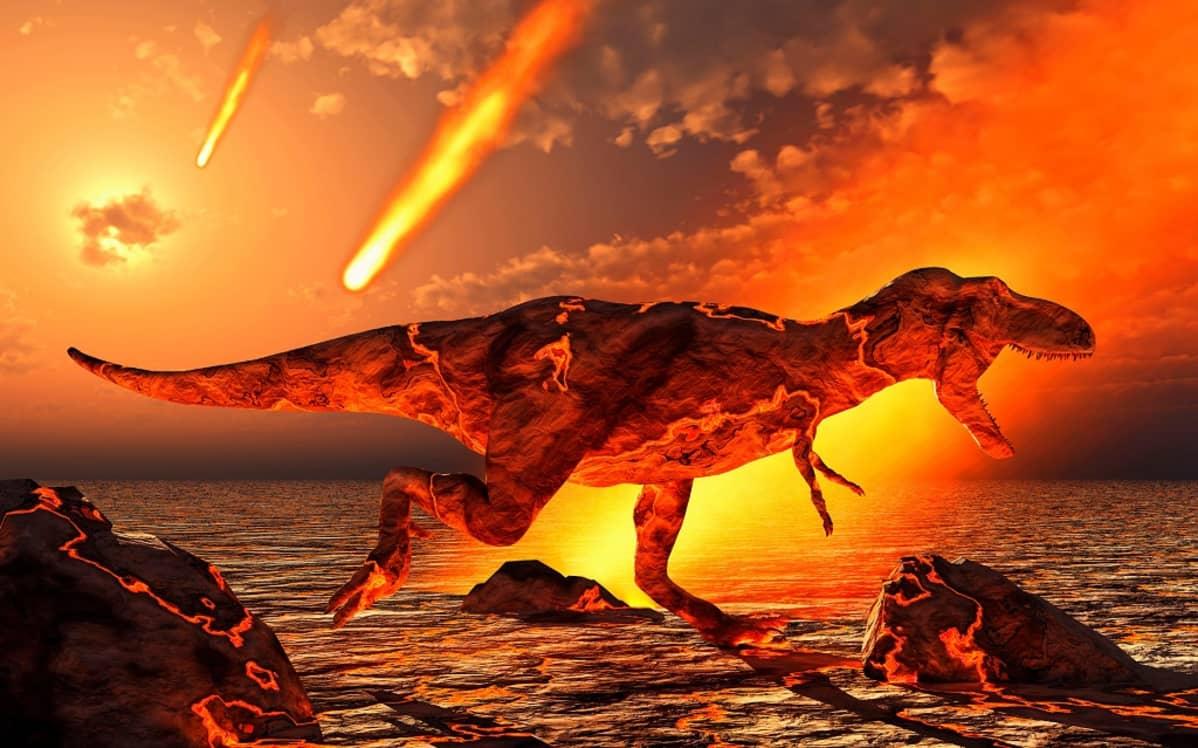 Tulipunainen T. Rex asteroidisateessa.