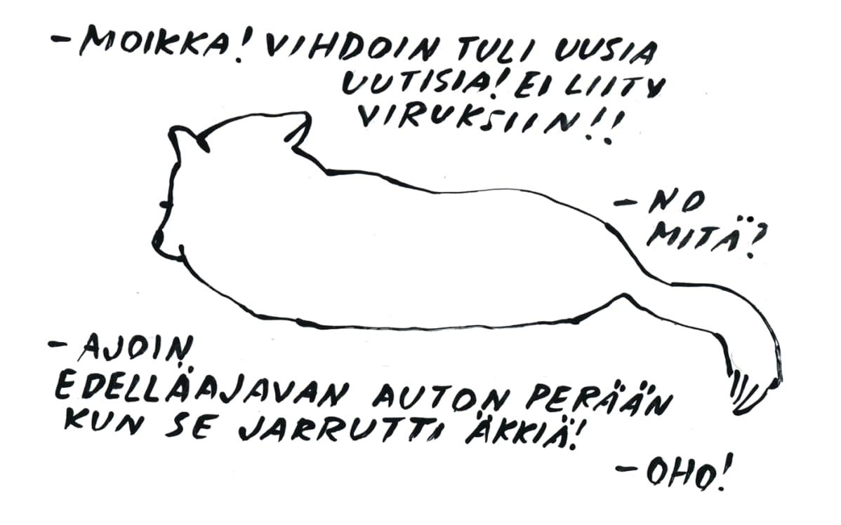 Zen-koira on päässyt Kati Rapian kuviin poikkeustilan keskusteluista kotona.