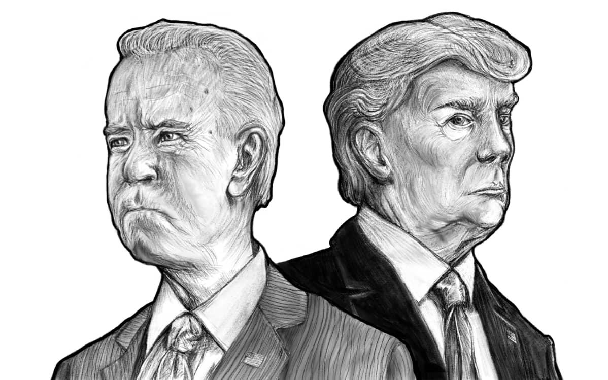 Piirros Joe Bidenista ja Donald Trumpista. Biden katsoo kuvan vasemmassa reunassa vasemmalle ja vastaavasti Trump oikealla puolella enemmän katsojaan päin.
