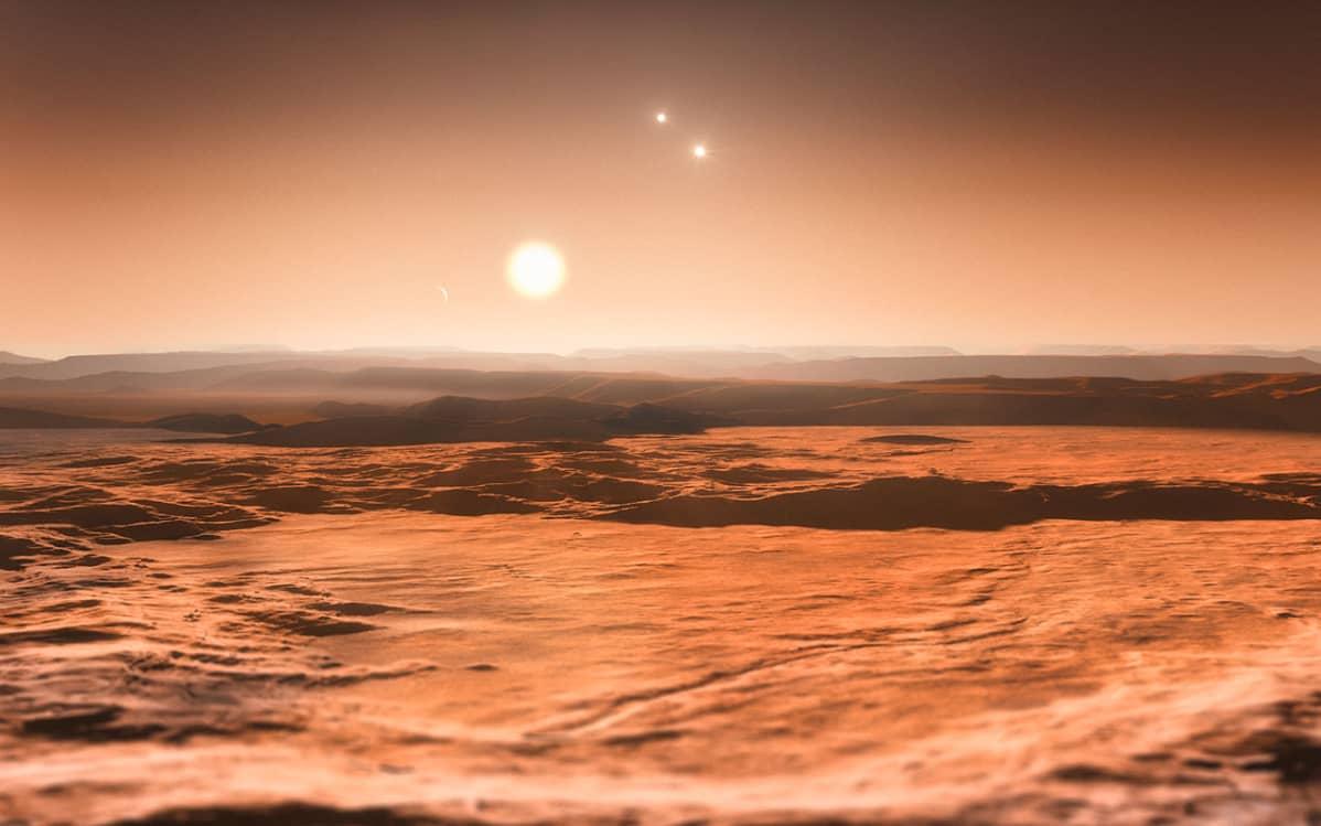 Taiteilijan näkemys Gliese 667C -tähdestä.
