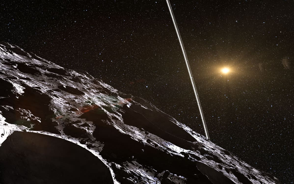 Taiteilijan näkemys Chariklo-asteroidia ympäröivistä renkaista.