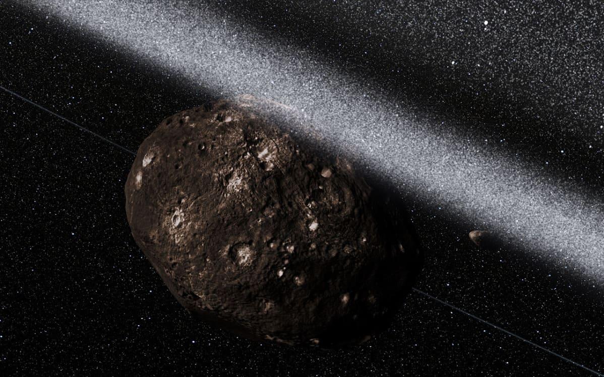 Taiteilijan näkemys siitä, millainen näkymä Chariklo-asteroidia ympäröivien kehien sisäpuolelta saattaa olla.