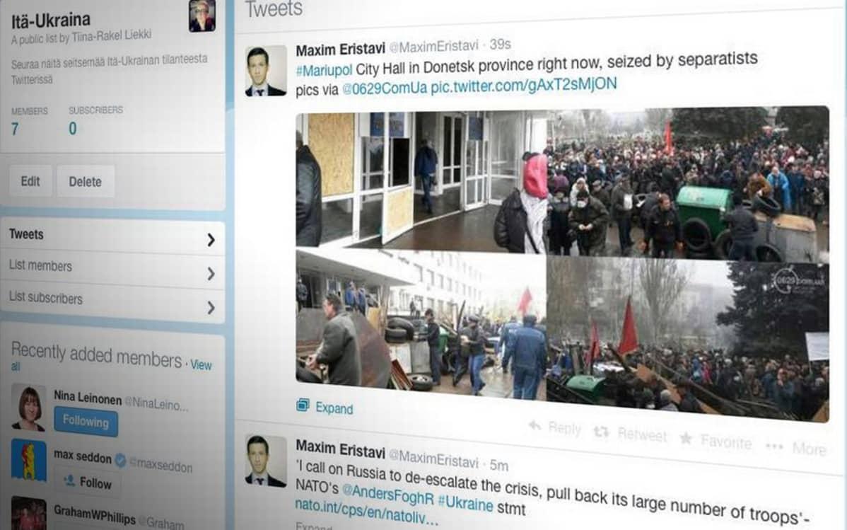Seuraa näitä twiittaajia Itä-Ukrainan tilanteesta
