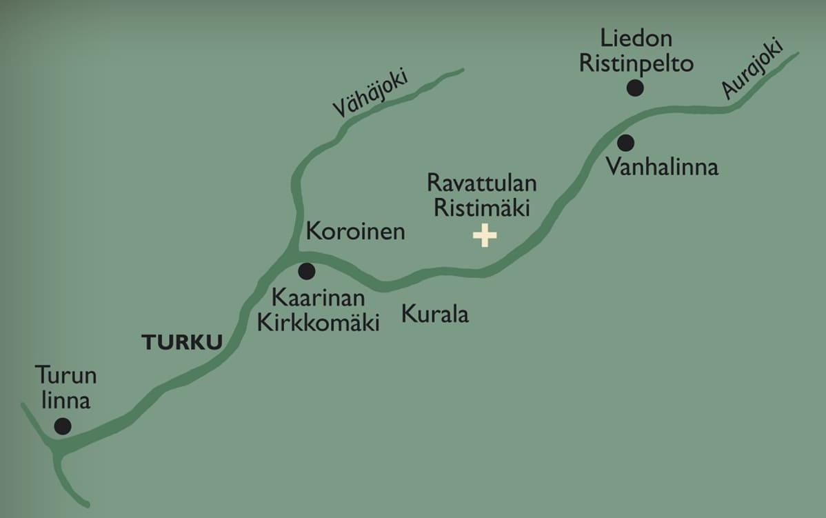 Kartta Aurajokjvarren myöhäisrautakautisista kohteista.