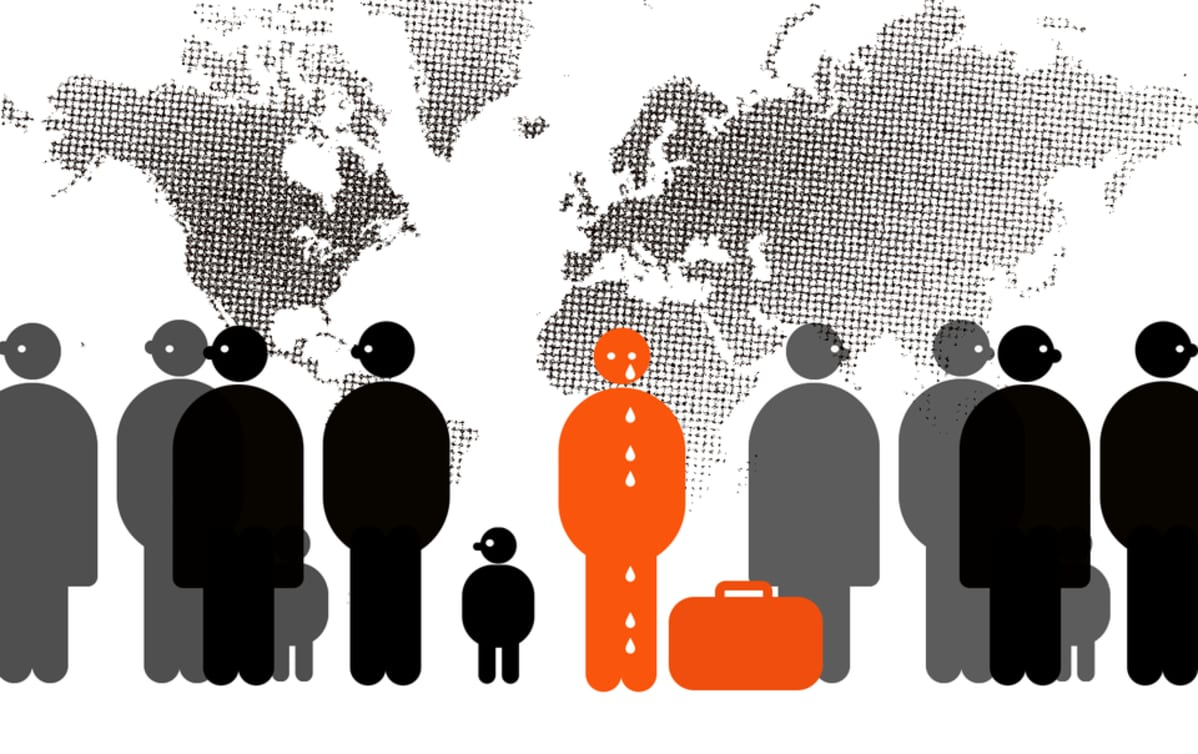 Kuvitus turvapaikanhakijan syrjinnästä