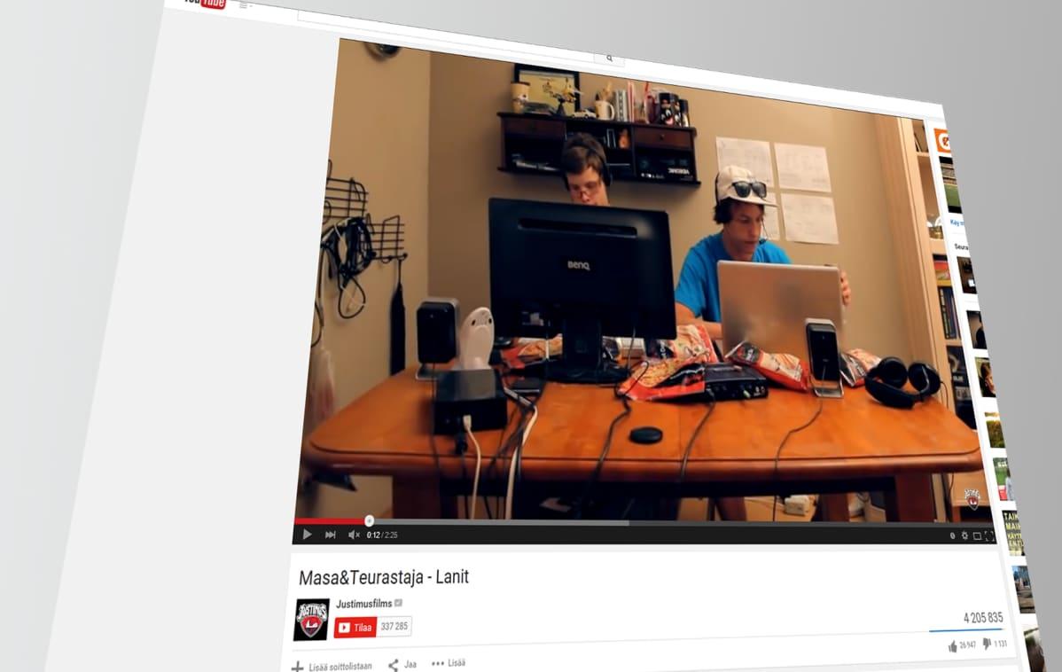 """Kuvankaappaus YouTube-videosta """"Masa&Teurastajat - Lanit""""."""