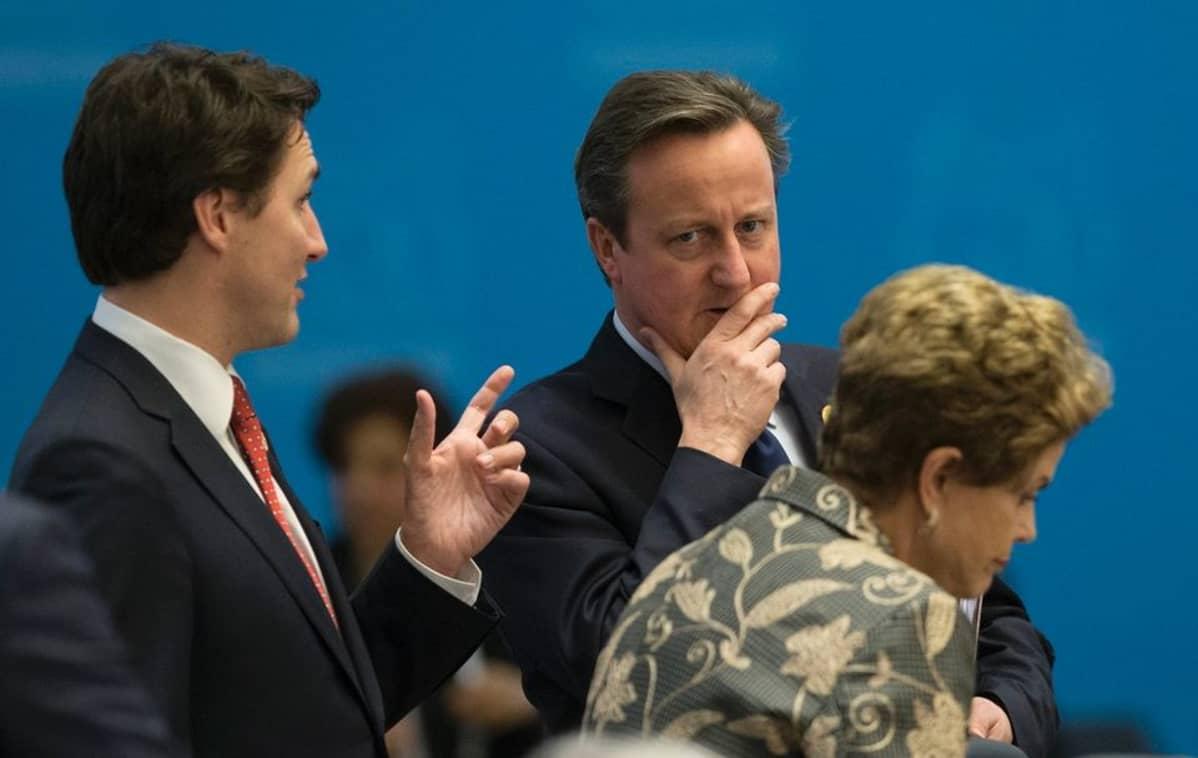 Trudeau puhuu sormi pystyssä mietteliään oloiselle Cameronille. Edessä Rousseff asettumassa paikalleen.