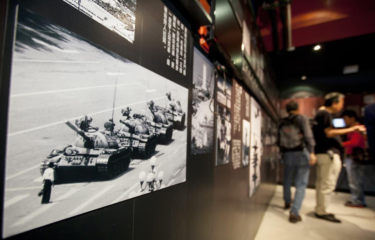 Kuva Hongkongiin perustetusta museosta, joka esittelee Taivaallisen rauhan aukion mielenosoituksen tapahtumia vuodelta 1989.