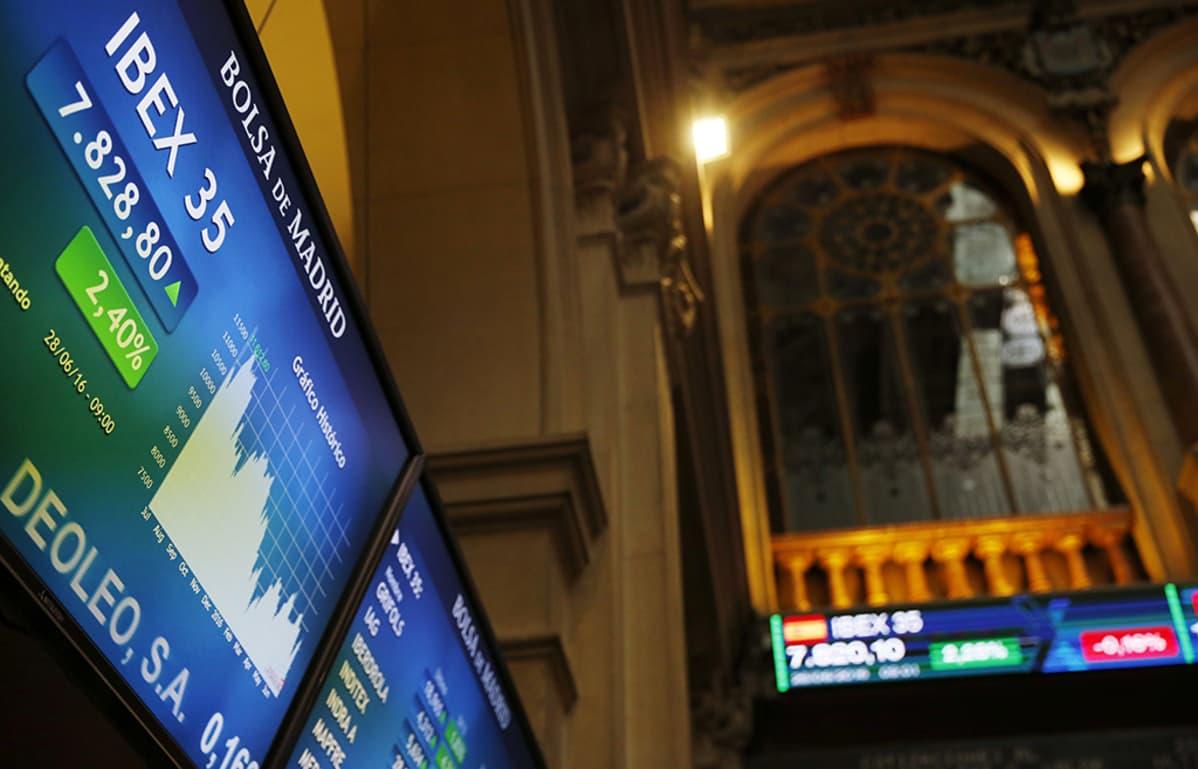 Madridin pörssi tiistaina 28. kesäkuuta.