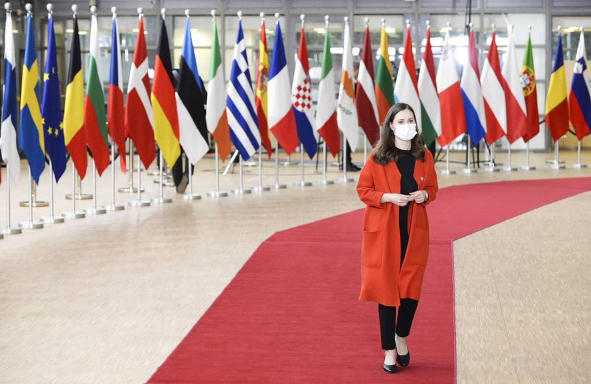 Pääministeri Sanna Marin EU-huippukokouksessa Brysselissä lokakuussa 2020.