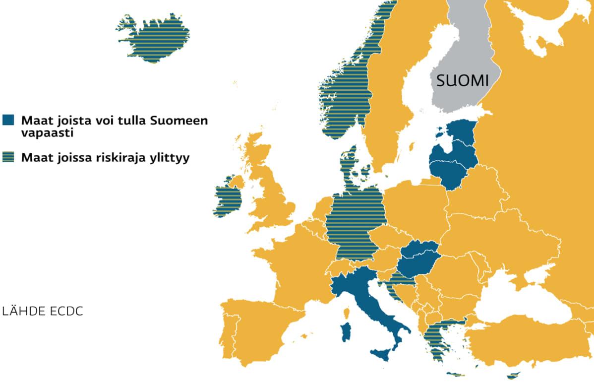 Kartta Euroopan matkustusrajoituksista