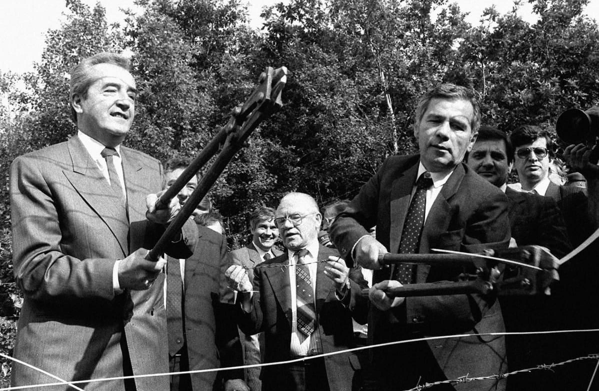 Gyula Horn ja Alois Mock.