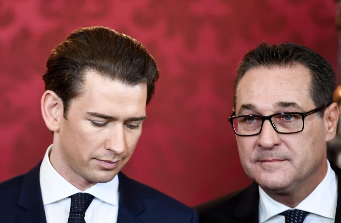 Liittokansleri Sebastian Kurz (vas.) ja varaliittokansleri Heinz-Christian Strache joulukuussa 2017.