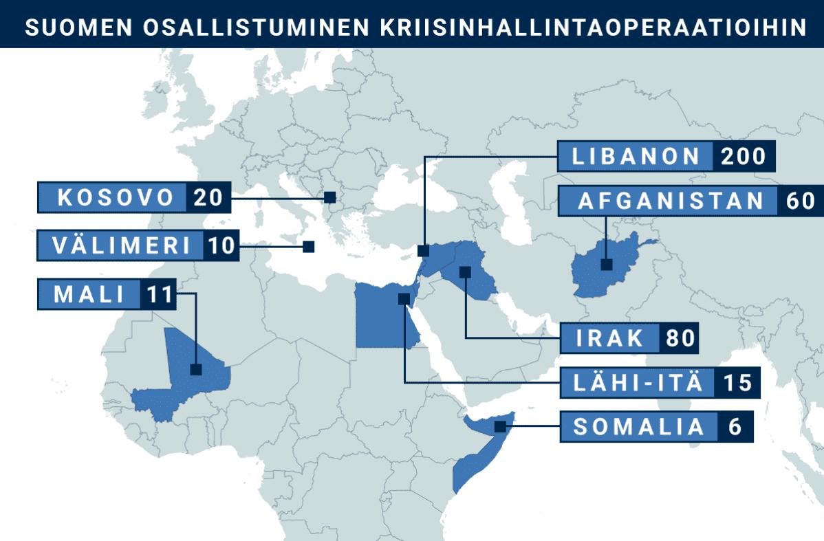 Kartta, johon merkitty maat, joissa Suomi on ollut osallisena kriisinhallintaoperaatiossa