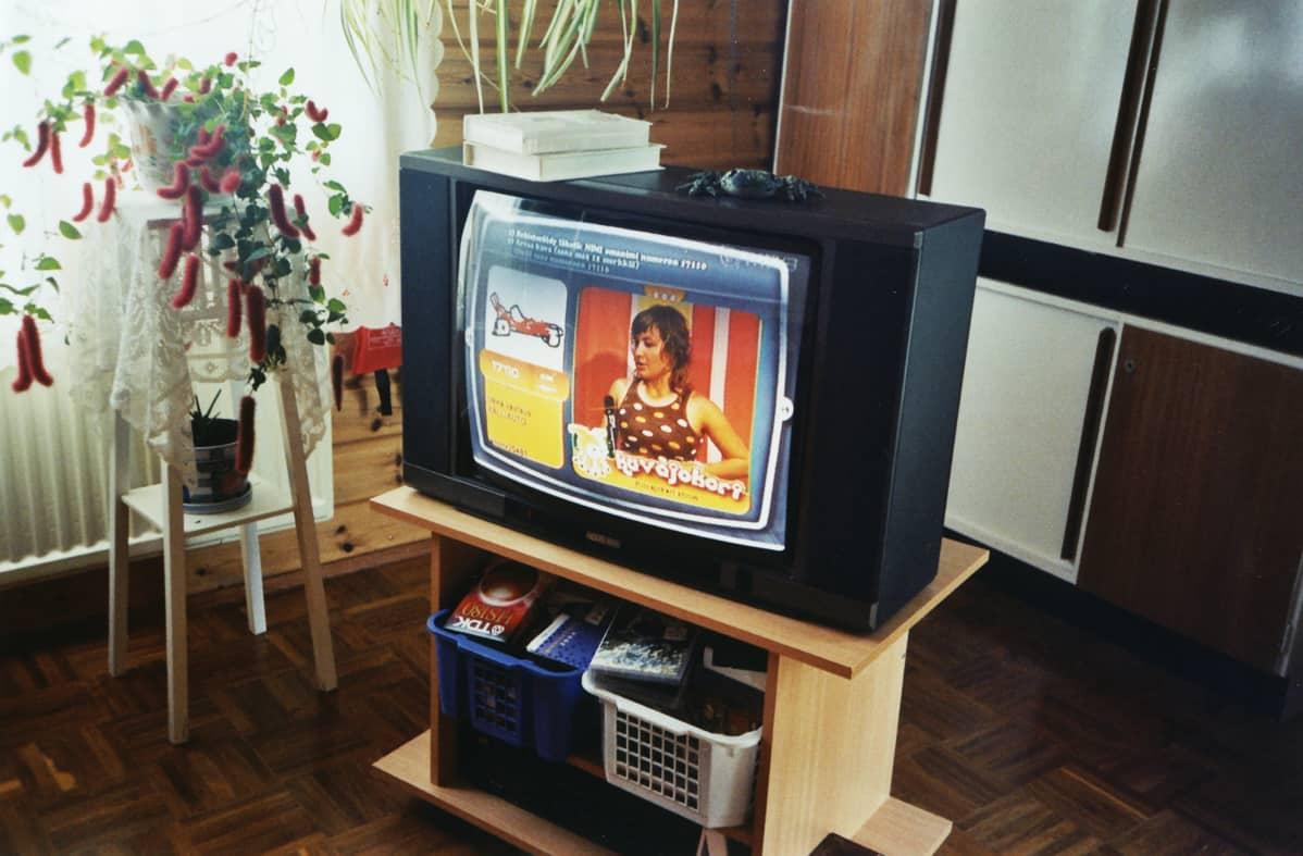 Televisio ja VHS-kasetteja.
