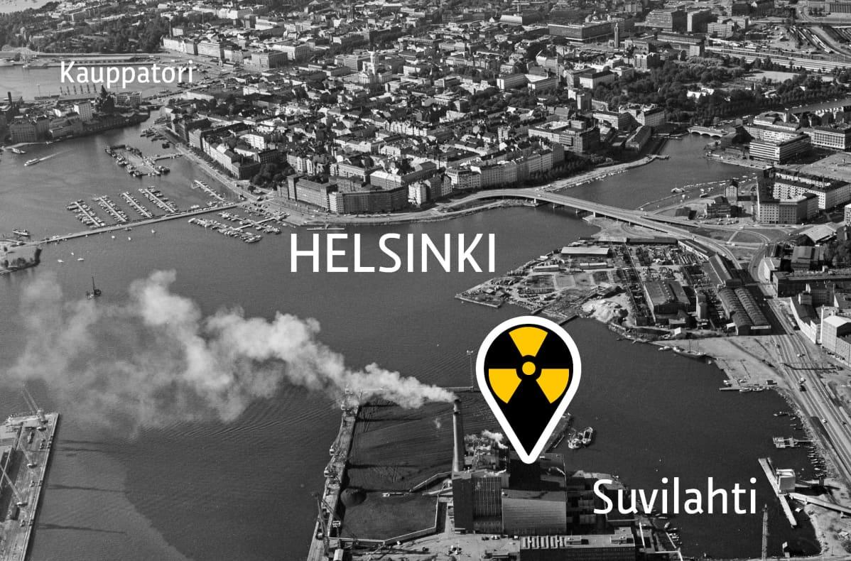 Ilmakuva Helsingin suvilahdesta ja keskustasta.
