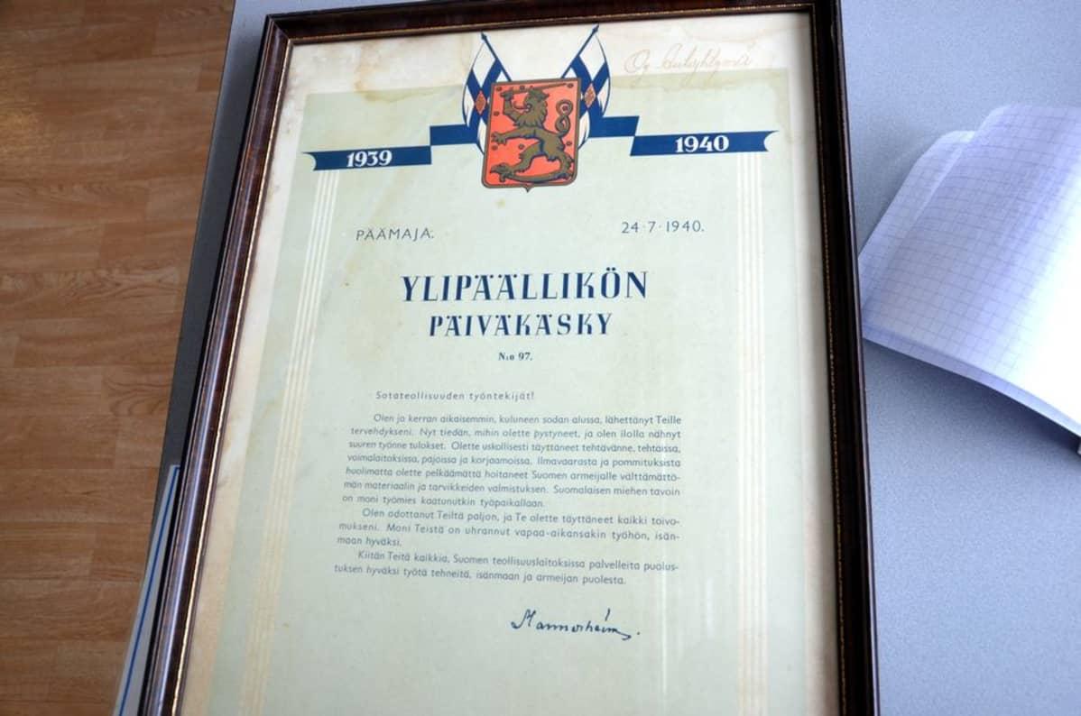 Ylipäällikön päiväkäsky mikkeliläisen Autoyhtymän työntekijöille 24.7.1940.