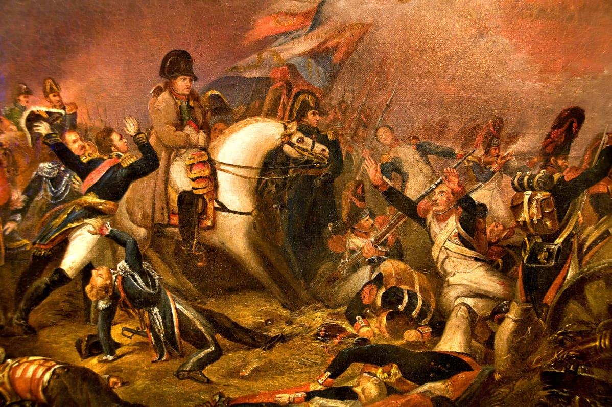 Maalaus Waterloon taistelusta.