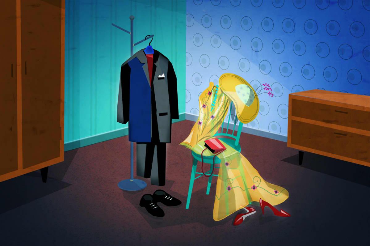Miehen ja naisen vaatteet hotellihuoneessa