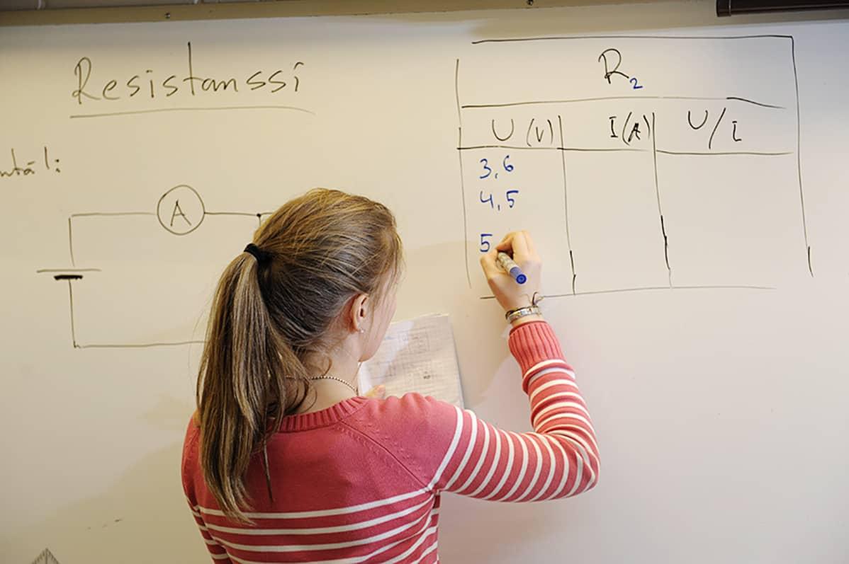 Koululainen tekee laskutoimitusta taululle.