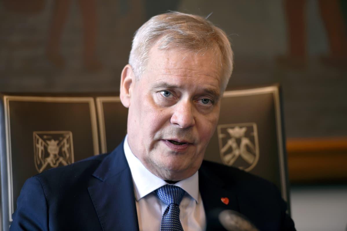 Pääministeri Antti Rinne tiedotustilaisuudessaan Helsingissä 26. kesäkuuta 2019