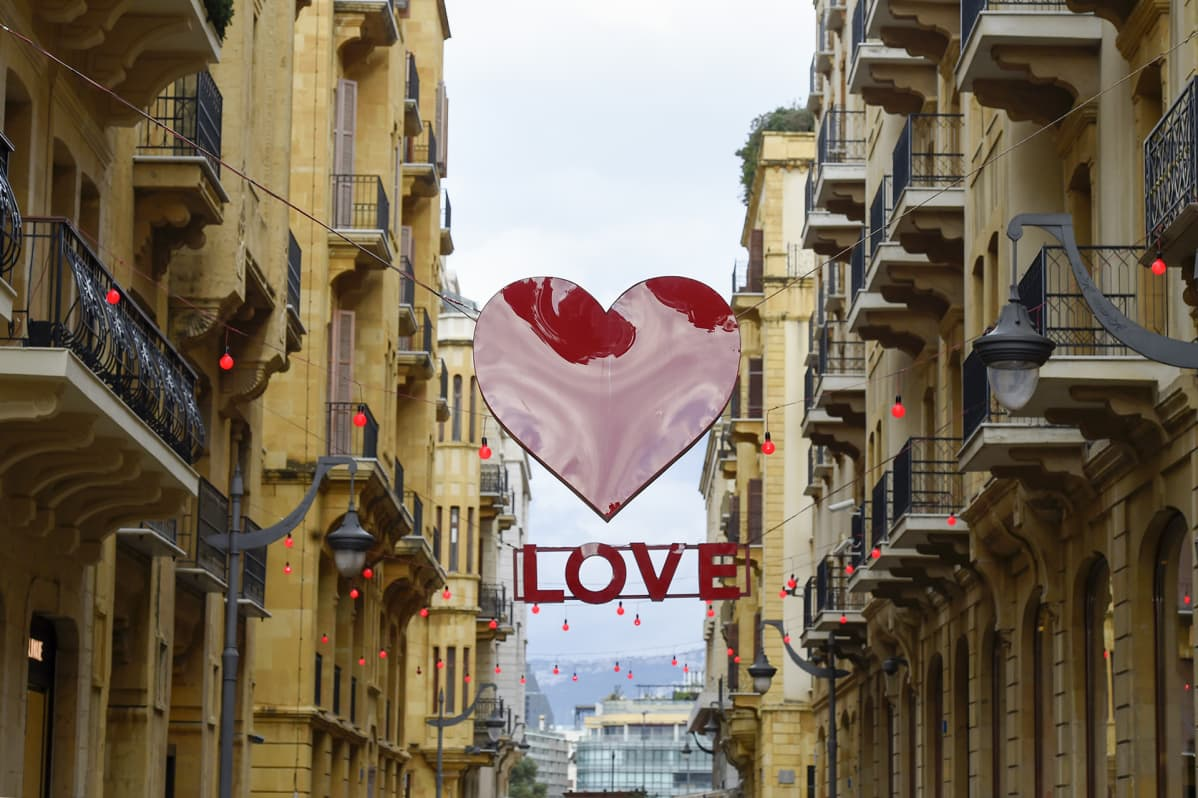 Signs of Valentine's Day decorate a shopping district in downtown Beirut, Lebanon, 10 February 2020.