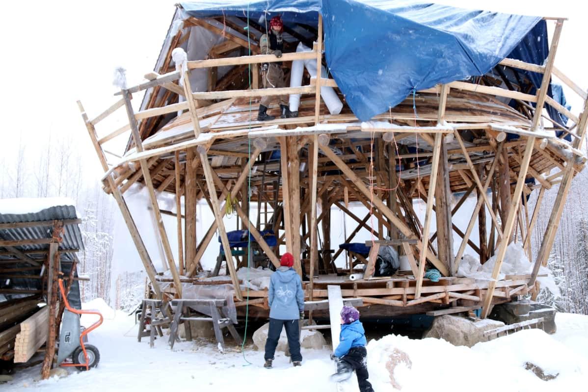 Pyöreän ekotalon rakennustyömaalla tehdään kattotöitä.