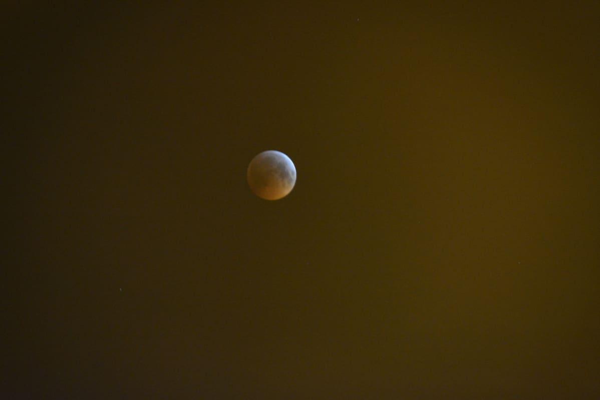 Pimentynyt kuu näkyy punertuvana.
