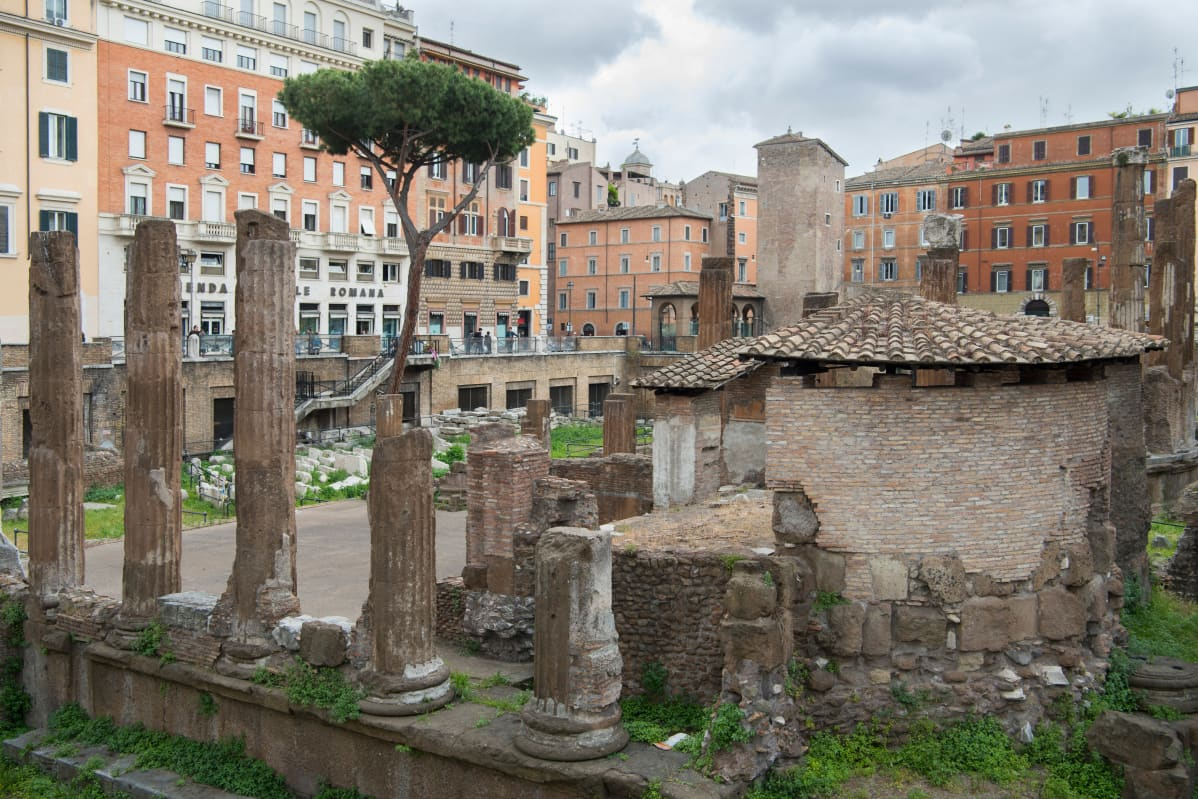 Temppeliraunioita Largo Argentinassa Roomassa.