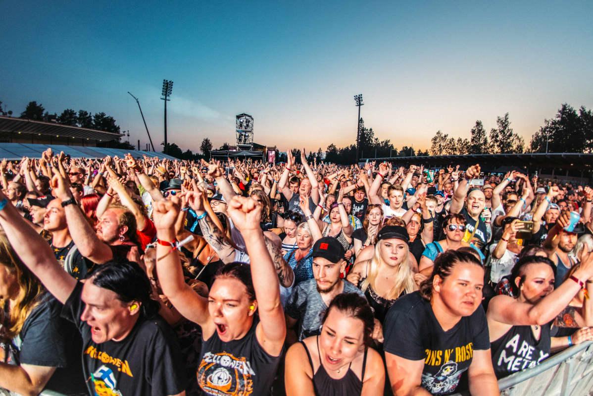 Yleisöä Kuopiorockissa vuonna 2018.