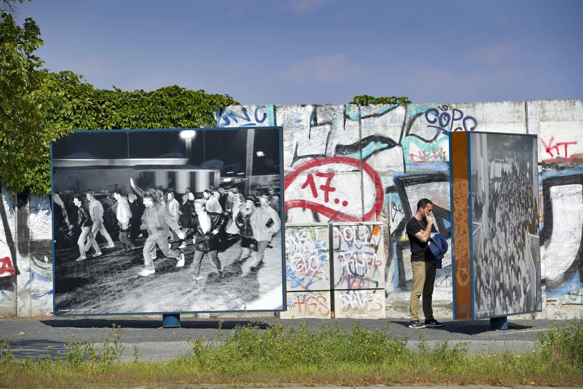 Bornholmer Straßen, historiantien rajanylityspaikka Berliinissä missä vielä palanen muuria on jäljellä.