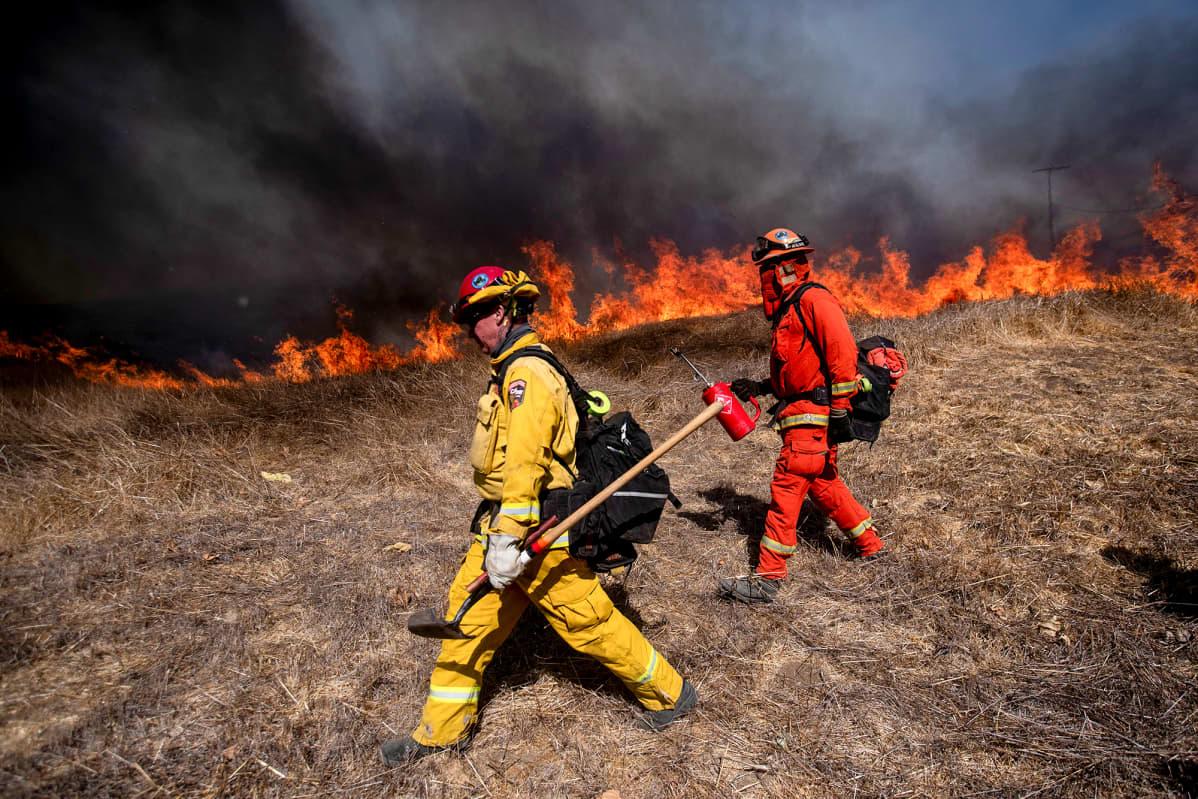 Palomiehet sammuttamassa ruohikkopaloa  Los Angelesin lähistöllä.