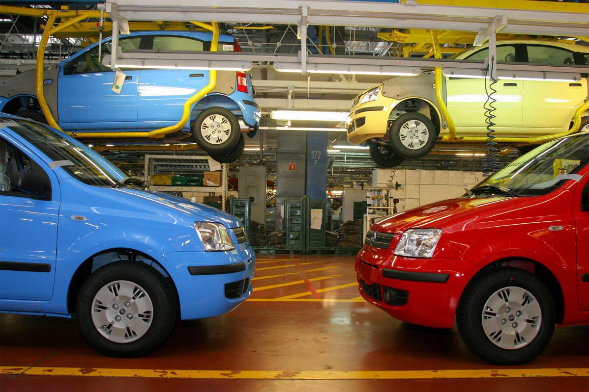 Fiat Pandan valmistusta Puolassa Tychyn tehtaalla.