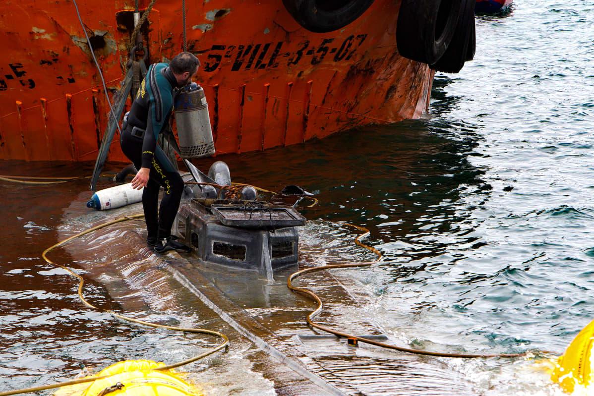 Espanjan poliisi tutkimassa huumausaineiden salakuljetukseen rakennettua sukellusvenettä joka tavoitettiin Espanjan rannikolla 24. marraskuuta. Viranomaisten mukaan sukellusvene tuli Etelä-Amerikasta. Espanjalaisen El País -lehden tietojen mukaan 20-metrinen sukellusvene kantaa jopa kolmen tuhannen kilon painoista kokaiinilastia, joka on peräisin Kolumbiasta.