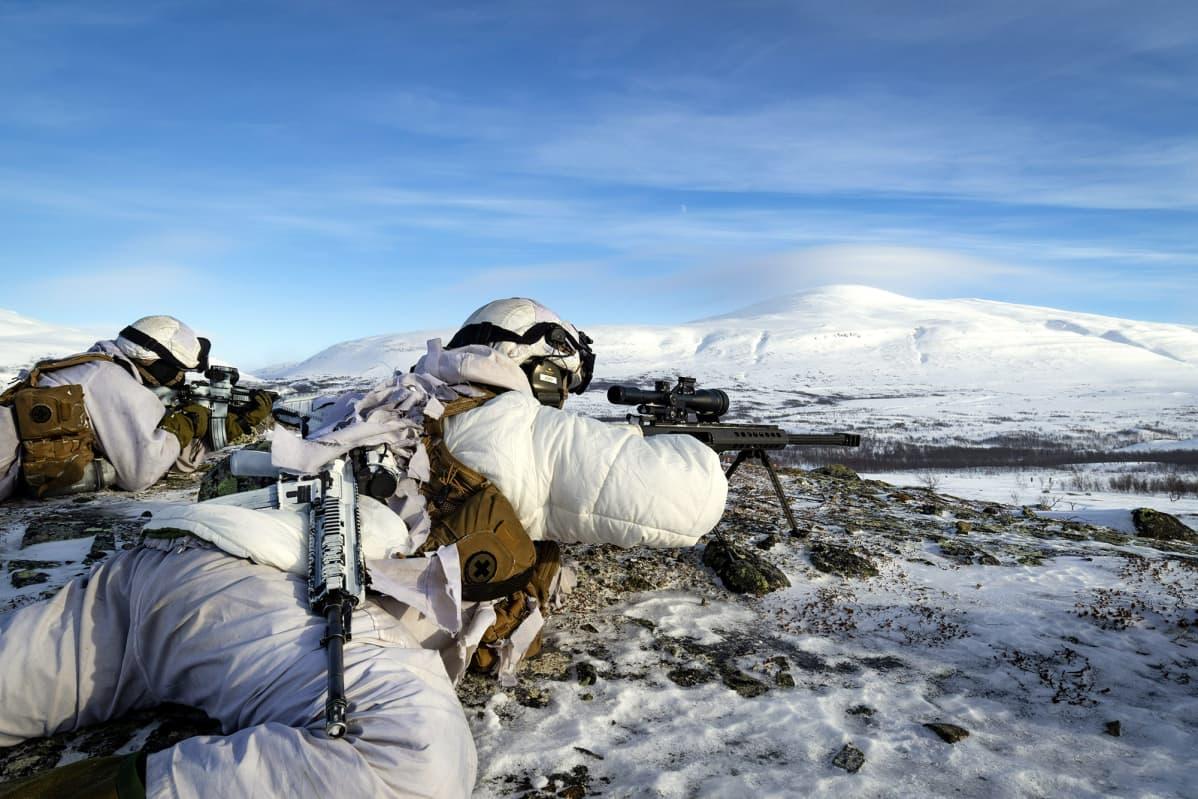 Norjan armeijan sotilaat harjoittelivat Finnmarkissa sunnuntaina.