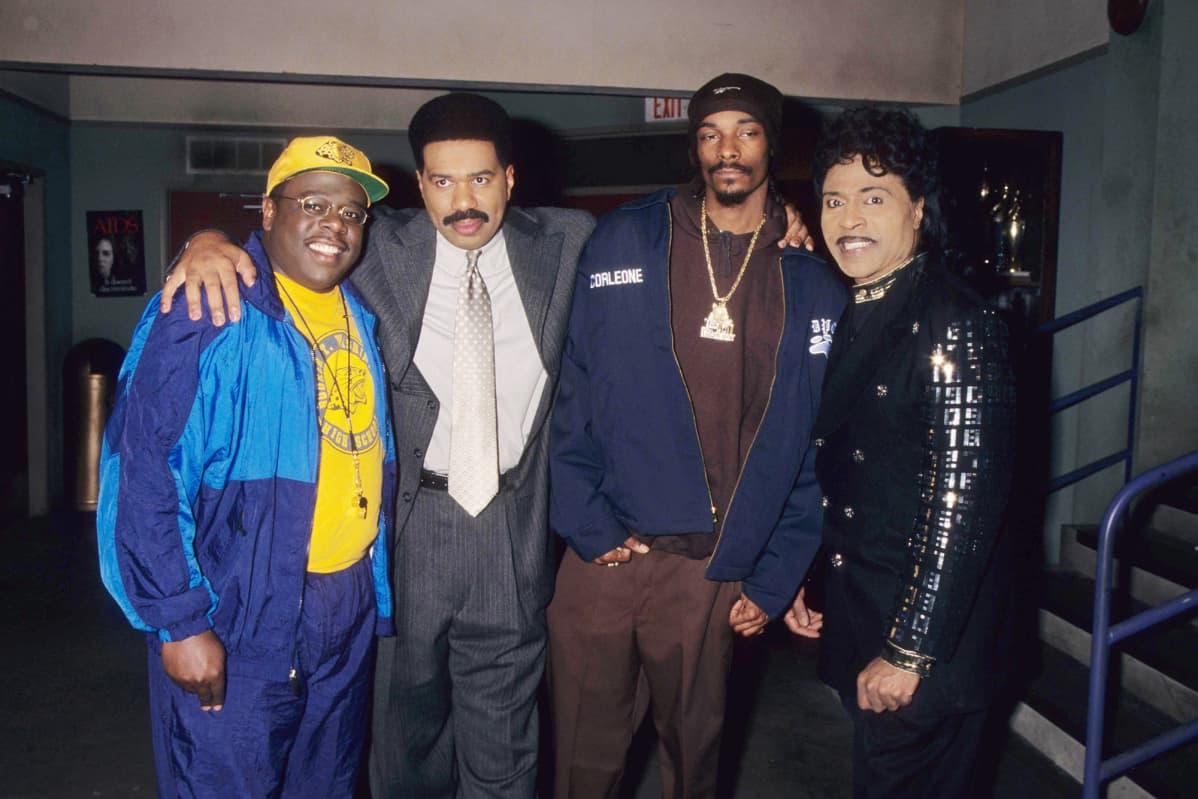 Cedric the Entertainer, Steve Harvey, Snoop Doggy Dog ja Little Richard poseerasivat yhdessä vuonna 1997.