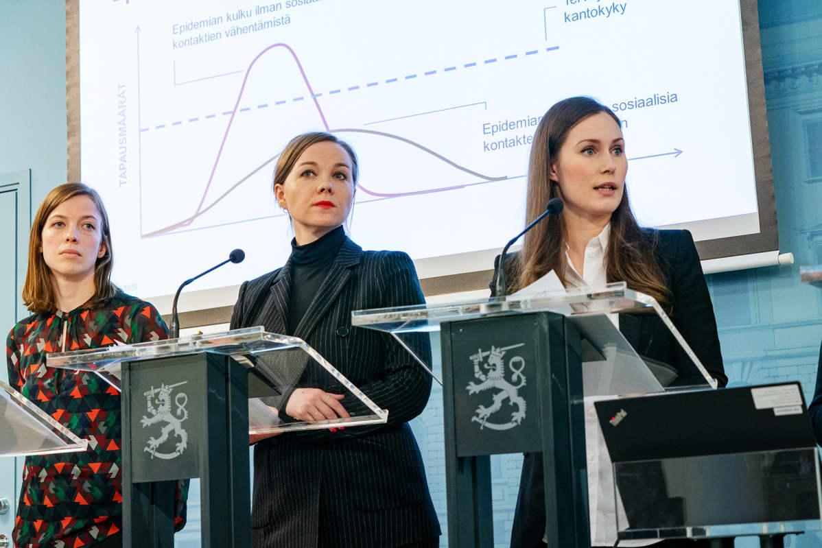 Li Andersson, Katri kulmuni ja Sanna Marin Hallituksen tiedotustilaisuudessa 16.03.2020