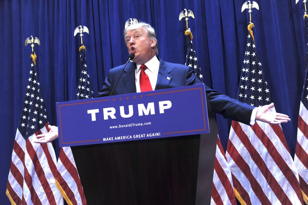 Kuvassa on Donald Trump kesäkuussa 2015.