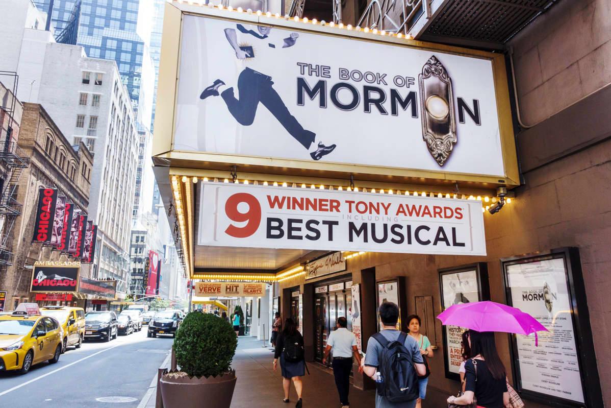 The Book of Mormon - näytöksen mainos New Yorkissa.
