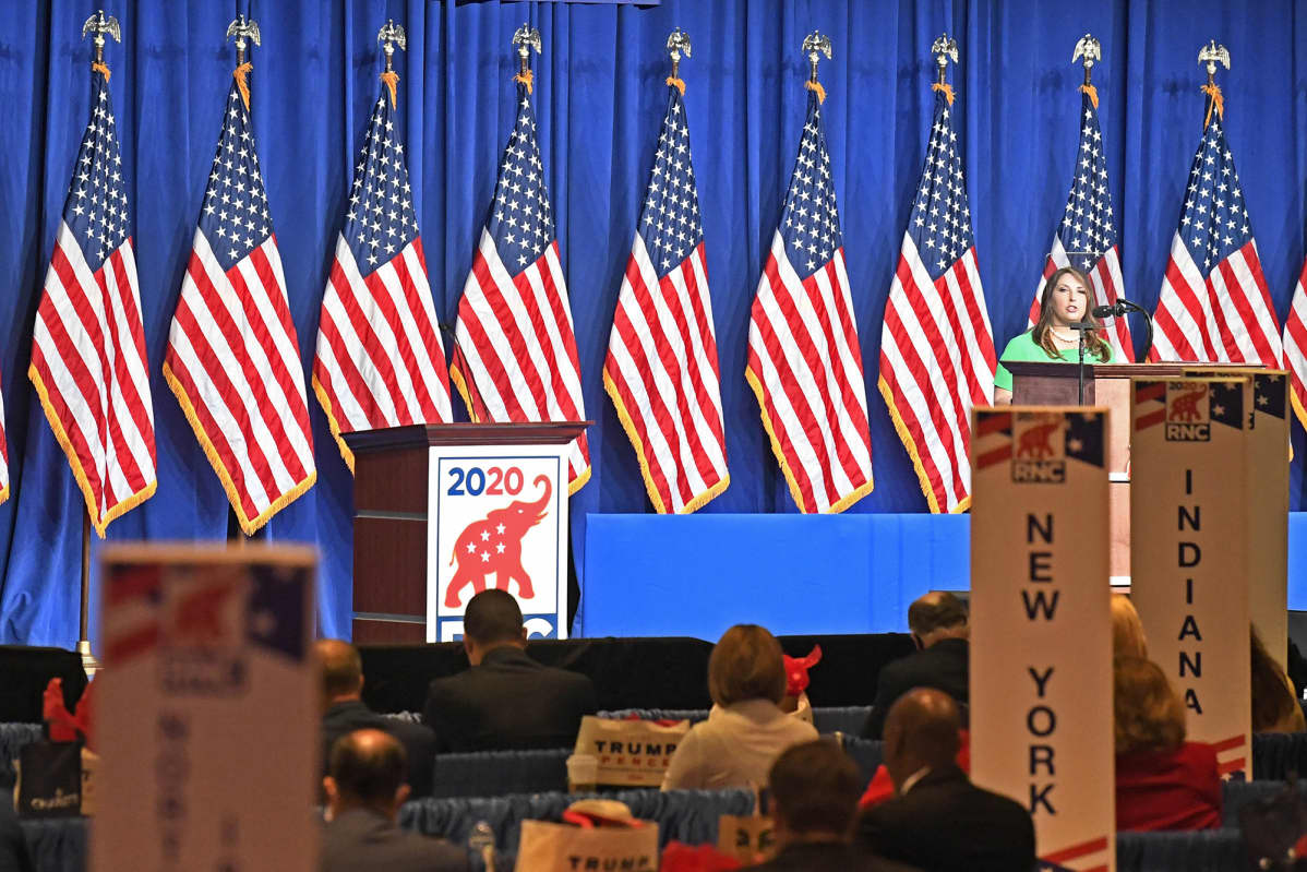 Republikaanipuolueen puoluekokous toukokuussa 2020 Charlottessa Pohjois- Carolinessa.