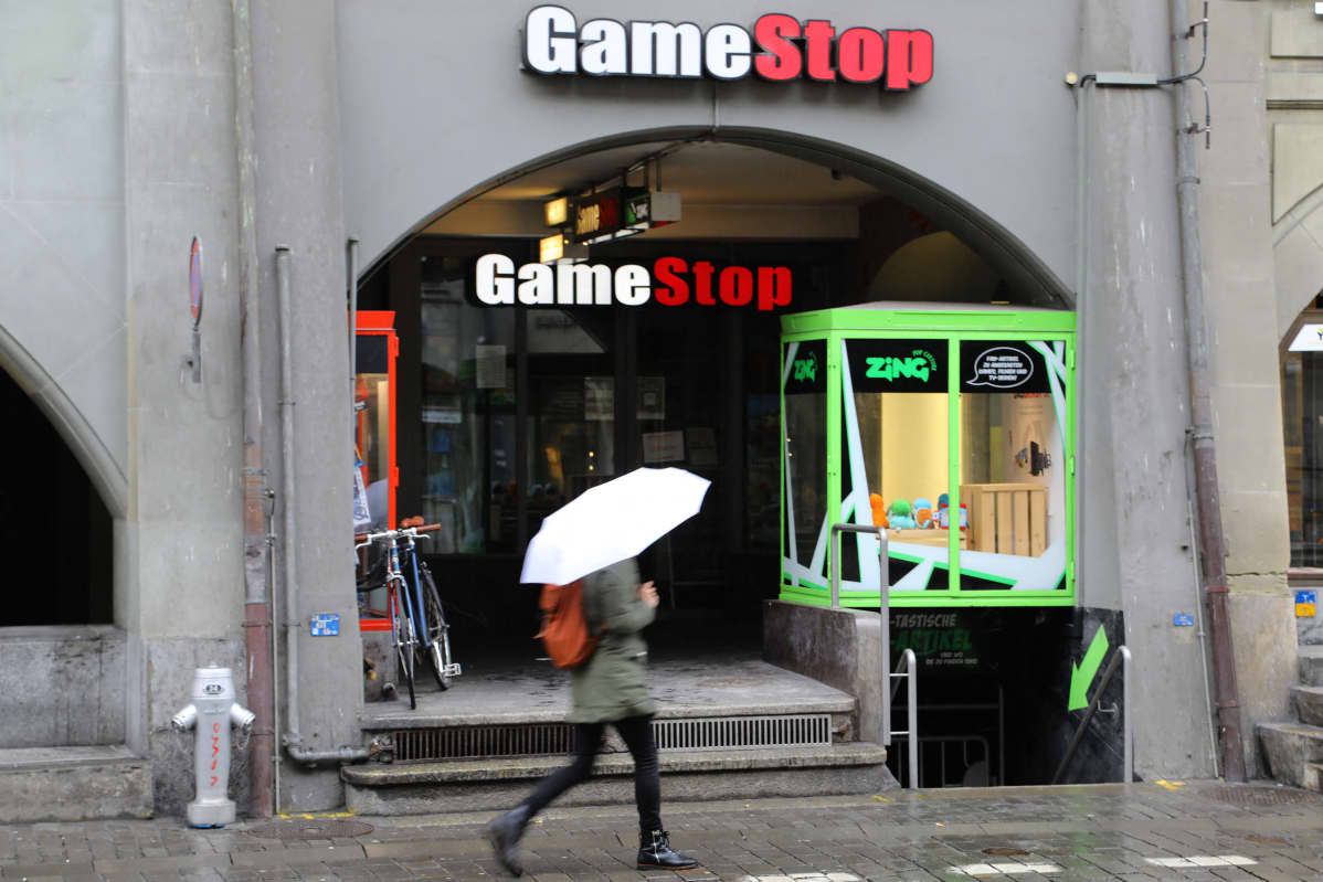 Gamestopin liike Bernissä Sveitsissä helmikuun 2. päivä.
