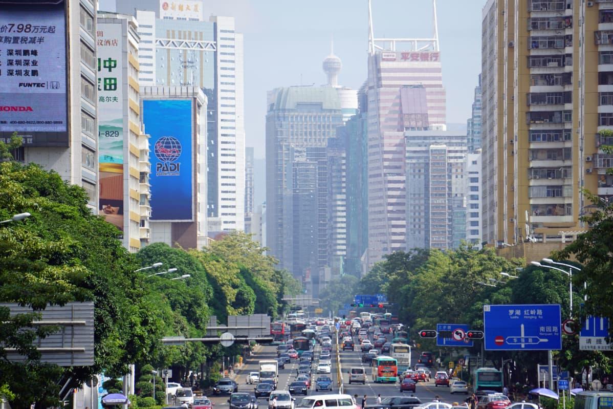 Shenzhenin kaupungin pilvenpiirtäjiä.